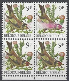 Belgium - Buzin 9F, Putter in block of 4 with curiosity - colour stain - OBP 2190P7a - Cu