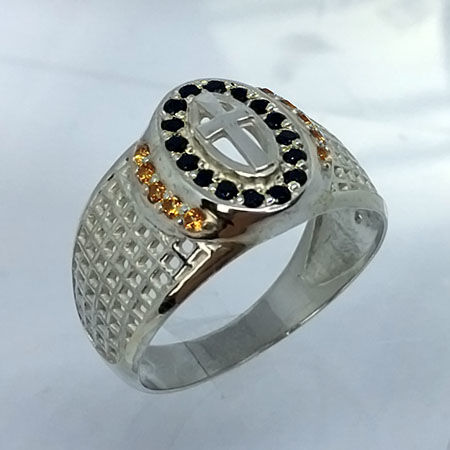 925 silver tourmaline and spinel mens ring - size 10