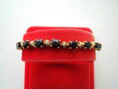 Vintage 1970s - Vermeil - Yellow Gold plated silver tennis Bracelet with Genuine Spinel and Diamond accents