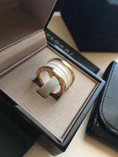 Bulgari - B.zero1 ring with 4 bands in 18 kt rose gold with white ceramic, size: 51