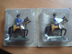 Lot of two Prussian on horseback, collection in metal 9 x 9,5 cm
