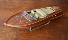 Beautiful scale replica of the motorboat Riva Aquarama  with display case