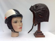 Brown leather driver's hat and old motorcycle helmet - size 56 and size 55
