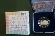 "Italy - 10 Euros, Proof, 2011 ""Year of Culture and Russian Language in Italy"" - Silver"