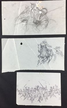 "Tisselli, Sergio - 3x sketches for ""Tex Willer"""