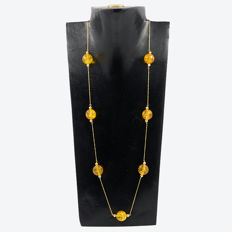 18k/750 yellow gold necklace with citrines – Length 68 cm.