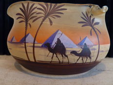 Henri Martin, Scailmont - Art Deco glass bowl with Oriental decor
