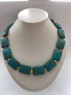 Woman's necklace Mohave turquoise, tiger's eye and 14 kt gold, length necklace 47 cm