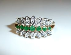 Modern ring 14kt / 585 gold with white gold 0.14ct. Diamonds + emeralds, ring size 56 / 18.8mm