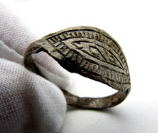 Medieval Viking Period Silver Ring with Runic Symbols - 21 mm