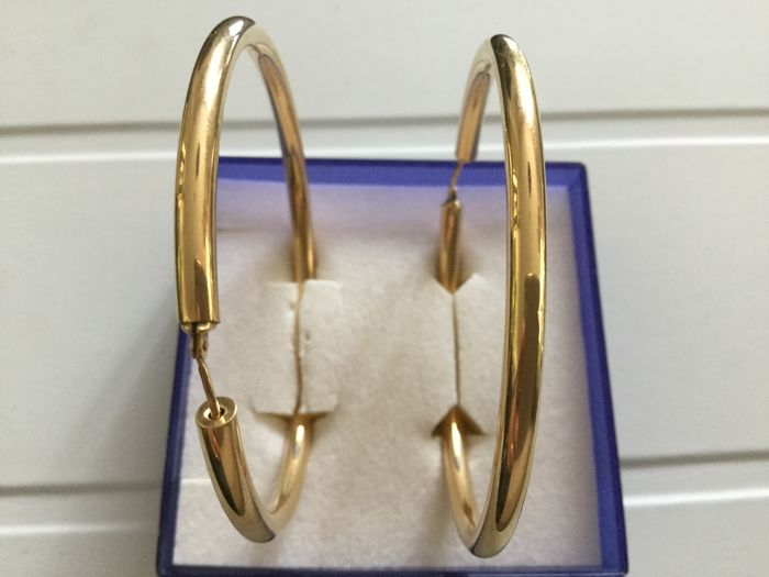 18 kt gold Creole earrings - 60 mm.