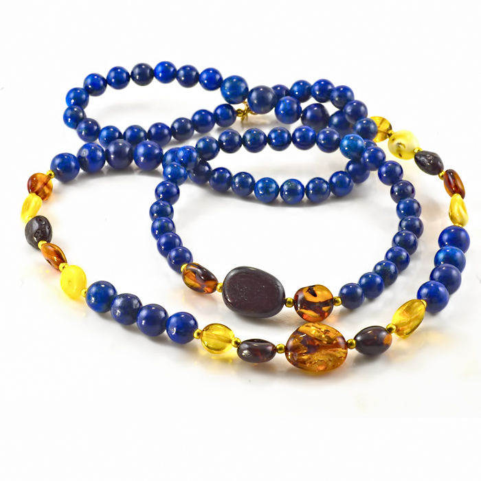 Lapis lazuli and Amber demi-parure: necklace length 52 cm, 18kt/750 yellow gold clasp and complimentary bracelet