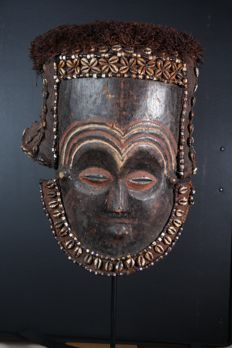 Ancient wooden dance mask - LELE - Former Belgian Congo