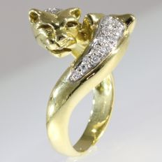 18k Gold polished double panther head ring with 26 diamonds - size 52