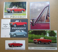 Peugeot - Lot of 5 brochures for models 204, 404, 504 convertible and coupe - from 1958 to 1981