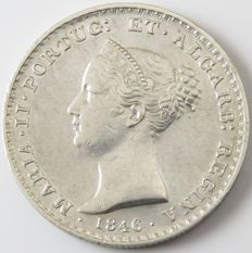 Portugal – Monarchy – 500 Réis from 1846 – D. MARIA II – Silver – EF/XF