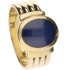 18 kt yellow-gold ring, set with star sapphire - ring size: 18 mm