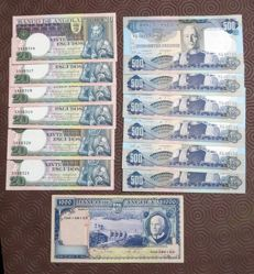 Angola - 6 x 20 escudos from 1973 and 6 x 500 escudos from 1972 - Pick 102 and 104 - Running numbers