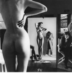 "Helmut Newton (1920-2004) - ""Brescia"" and ""self portrait with wife and models"", 1981."