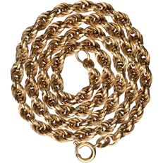 18 kt - Yellow gold rope link necklace - Length: 42 cm