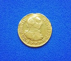 Spain - 1/2 escudo 1777 Carlos III Madrid PJ