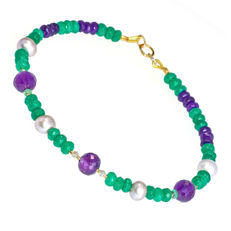 Multi-colour bracelet with A grade Amethyst, Pearls, Emeralds and Diamonds 0.15 carat total weight  – Length 20 cm, 18kt/750 yellow gold clasp