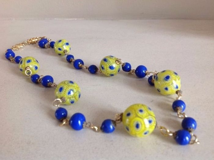 Necklace with rare Art Deco millefiori beads from Antonio Vaccari, ca. 69 cm