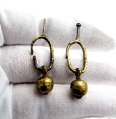 Pair of medieval Viking period Gold-Gilded Earrings  (2) - 37-38 mm