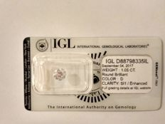 1.05 carat D SI1 Round Brilliant Natural Diamond Comes With IGL Certificate