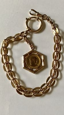 Antique rose gold coloured watch chain / chatelaine with medallion, around 1900