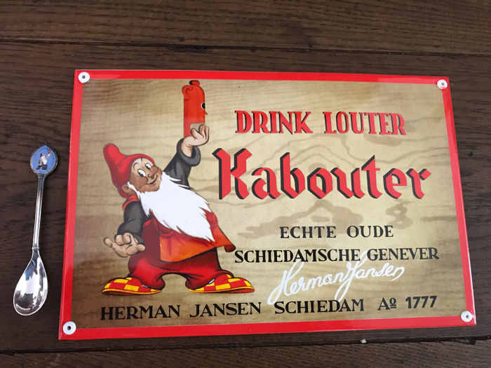 Attractive heavy enamel sign ''Drink louter Kabouter'' with 175 year anniversary spoon