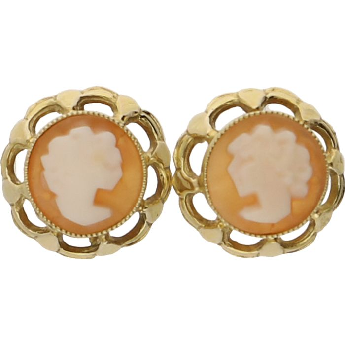 14 kt - Yellow gold elegant ear studs, each set with a cameo - Diameter of earring: 10 mm