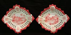 Pair of Hand-Painted Ceramic Trays, Vecchia Bassano