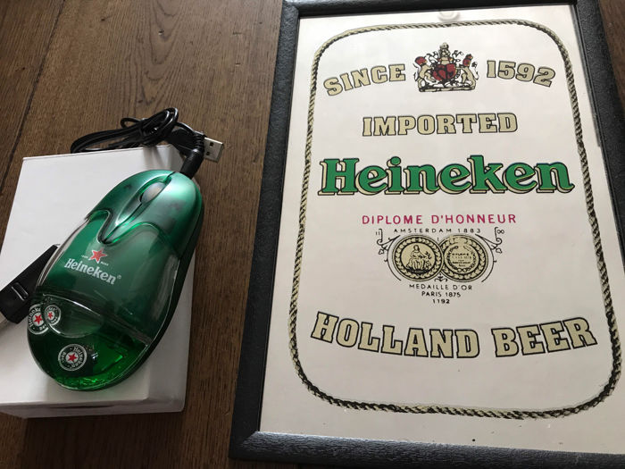 Beautiful old Heineken mirror + wireless computer mouse Heineken