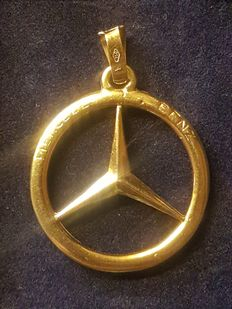 18 kt gold handmade Mercedes star - 27 mm