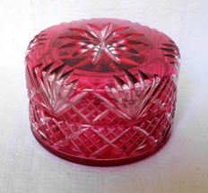 Baccarat Red Overlay powder box, France circa 1900
