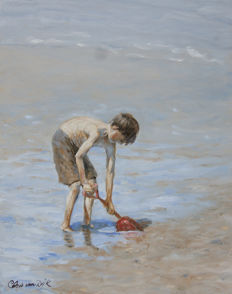 "Chris van Dijk (1952-) - ""A boy playing on the beach""."