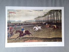 Lot of 4 English engravings in colour on the theme of the steeplechase - late 19th century