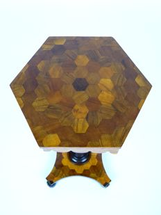 English Regency period marquetry inlaid wine/gueridon table - early 19th century