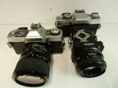 Two Minolta single-lens reflex cameras XG1 and XG-M with lenses and Macro adapter (1985)