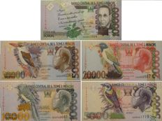 Sao Tome and Principe - 5,000 / 100,000 dobras - Pick 65d, 66c, 67d, 68e and 69c