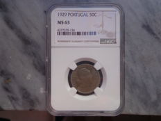Portugal - Coin of 50 Centavos from 1929 certified by NGC