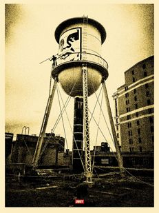 Shepard Fairey (OBEY) - Covert to overt : Icon Water Tower gold edition