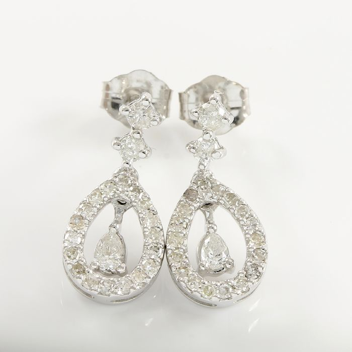 14k White Gold Earrings Set with 0.50 ct Diamonds - 15 mm long