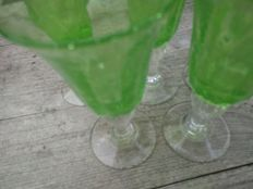 Saba (Le Biot) - Four green glasses on stems