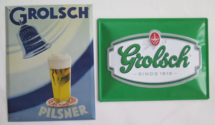Advertising sign Grolsch tin plates; older edition from the 1990s; and a newer edition
