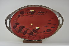 Art Nouveau tray with an earthenware top, and nickle-plated edge