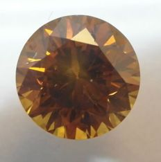 0.59 Ct. Naturel Fancy Deep Orangy Brown / SI2, Diamamant/Brillantschliff