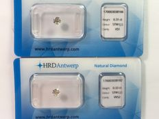 Pair of brilliant cut diamonds, in total 0.63 ct STW  J VVS2 - VS1 with HRD certificate