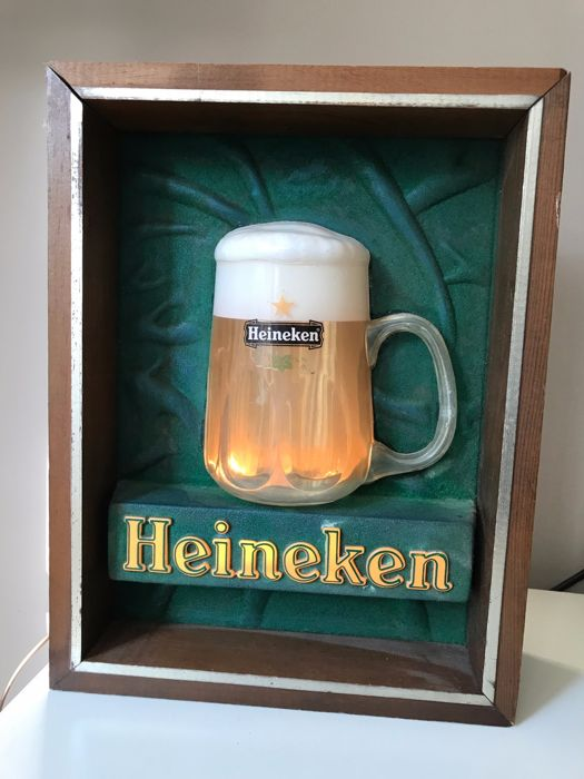 Heineken Beer light box from the 1970s - with moving bubbles - Wood